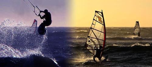 Revier für Windsurfer und Kiter vor dem Strandhotel Villa del Mar